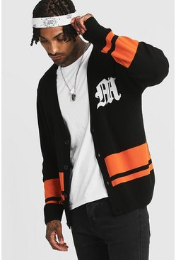 Mens Black Gothic M Varsity Knitted Cardigan