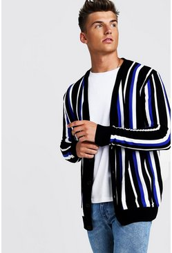 Mens Cobalt Vertical Stripe Knitted Cardigan