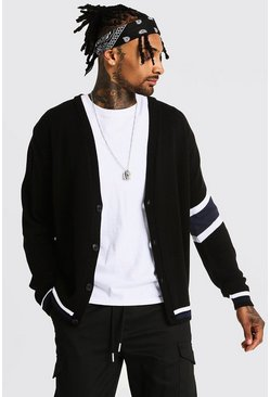 Varsity Arm Stripe Knitted Cardigan, Navy, HOMMES