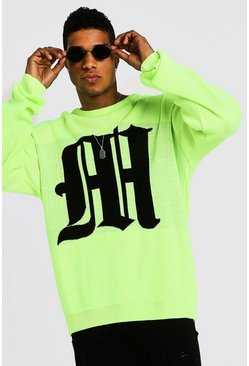 Mens Neon-yellow Oversized Gothic M Knitted Crew Neck Jumper