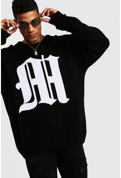 Mens Black Oversized Gothic M Knitted Crew Neck Jumper