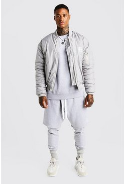 Mens Grey MAN Aesthetics Oversized Bomber Jacket