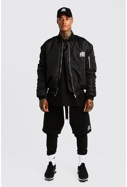 Mens Black MAN Aesthetics Oversized Bomber Jacket
