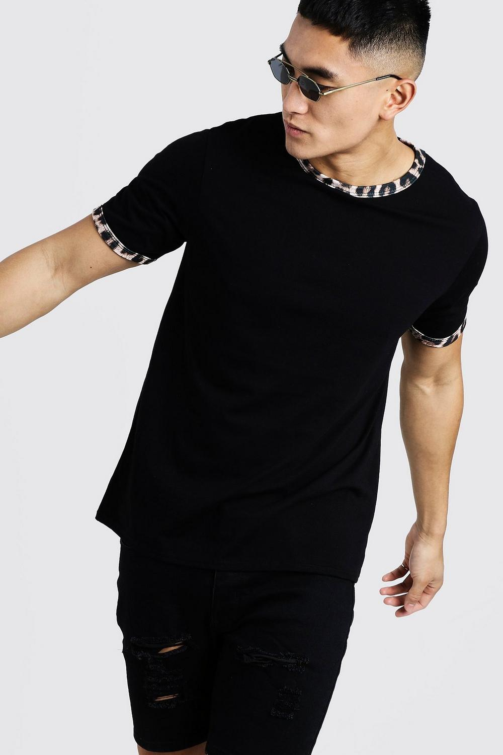 f712a16a2da0 Mens Black Animal Print Ringer T-Shirt. Hover to zoom