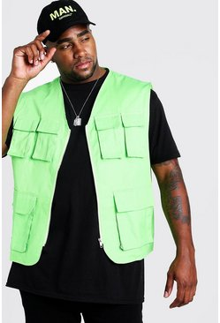 Mens Neon-green Big & Tall Pocket Detail Utility Vest