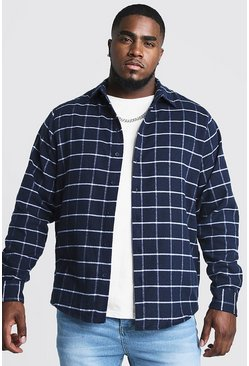 Mens Navy Big & Tall Shirt With Windowpane Check