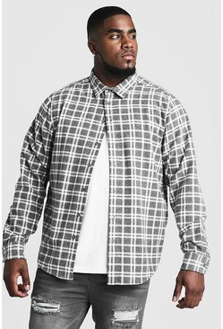 Mens Grey Big & Tall Shirt With Classic Check