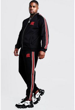 Mens Black Big & Tall MAN Tricot Tracksuit With Side Tape