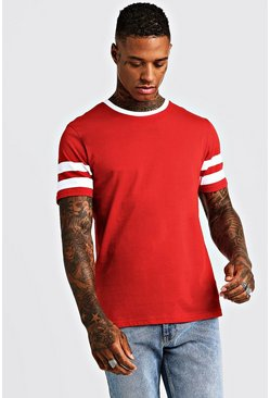 Mens Red Contrast Panel Short Sleeve T-Shirt