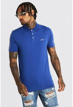 Mens Cobalt MAN Signature Muscle Fit Polo With Tape Detail