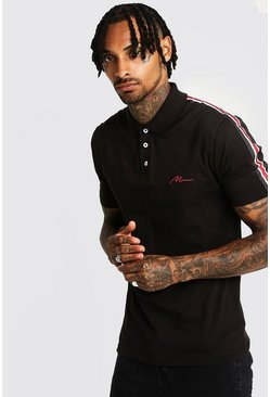 Mens Black MAN Signature Muscle Fit Polo With Tape Detail