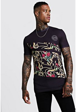 Mens Black Circle MAN Muscle Fit Spliced Baroque T-Shirt