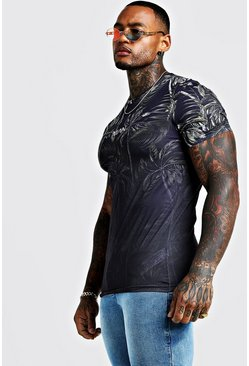 Mens Black Original MAN Muscle Fit Faded Palm T-Shirt