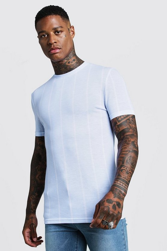 Mens Pale blue MAN Signature Muscle Fit Stripe T-Shirt