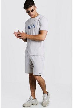 Mens Taupe T-Shirt & Short Set With Contrast MAN Print