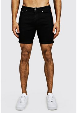 Skinny Fit Denim Shorts With Neon Side Tape, Black, HERREN