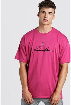 Oversized MAN Autograph Embroidered T-Shirt, Pink, HOMMES