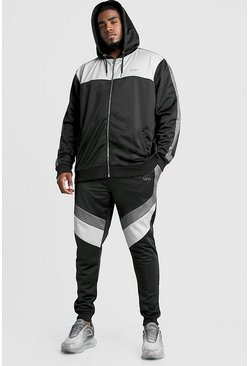 Mens Black Big & Tall Tricot Tracksuit With MAN Embroidery