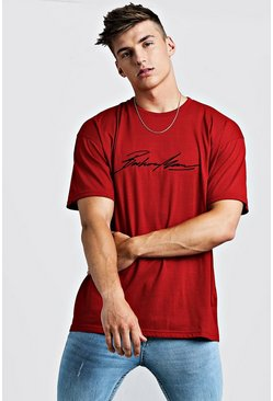 Mens Red Oversized MAN Autograph Embroidered T-Shirt