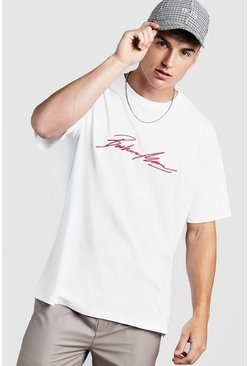 Mens White Oversized MAN Autograph Embroidered T-Shirt