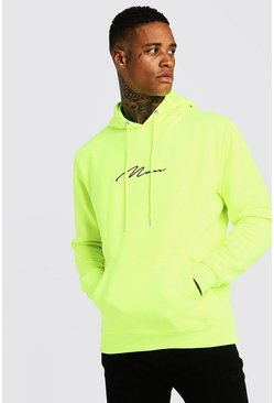 Mens Neon-yellow Man Signature Over The Head Hoodie In Neon