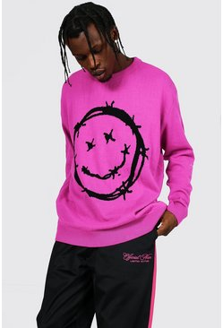 Pink Barbed Wire Face Sweater