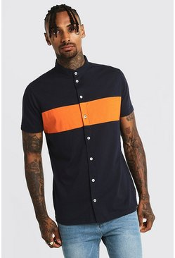 Mens Navy Colour Block Jersey Grandad Collar Shirt