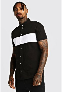 Mens Black Colour Block Jersey Grandad Collar Shirt