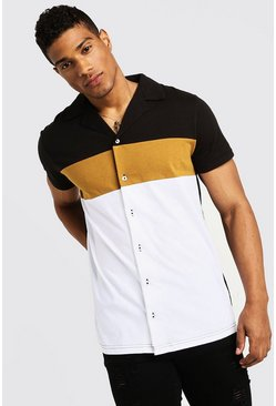 Mens Mustard Colour Block Short Sleeve Jersey Revere Shirt