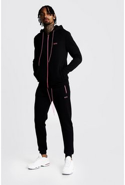 Mens Neon-pink Original MAN Hooded Contrast Detail Tracksuit