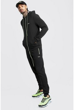 Mens Neon-yellow Original MAN Hooded Contrast Detail Tracksuit