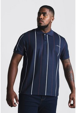 Polo rayé avec broderie MAN Grandes Tailles, Marine, Homme