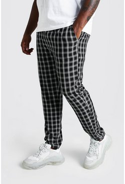 Black Big & Tall Skinny Fit Woven Check Joggers