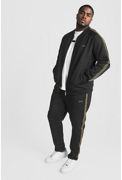 Mens Black Big & Tall MAN Tracksuit With Side Tape