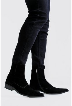 Mens Black Imitation Suede Western Boot