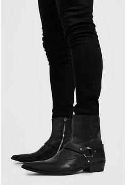 Mens Black Harness Detail Western Boot