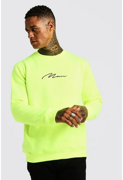 Sweat fluo MAN Signature, Jaune néon, Homme