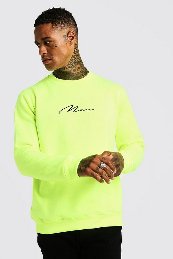 Mens Neon-yellow MAN Signature Sweater In Neon