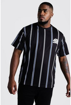 Mens Cobalt Big & Tall Stripe T-Shirt With M Embroidery