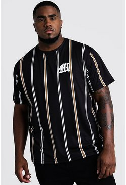 Mens Mustard Big & Tall Stripe T-Shirt With M Embroidery