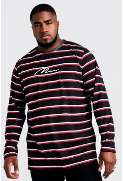Mens Black Big & Tall Stripe T-Shirt With MAN Embroidery