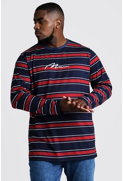 Mens Navy Big & Tall Stripe T-Shirt With MAN Embroidery