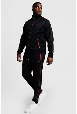 Mens Black Big & Tall Tricot Tracksuit With Embroidery