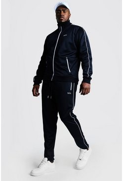 Mens Navy Big & Tall Tricot Tracksuit With Embroidery