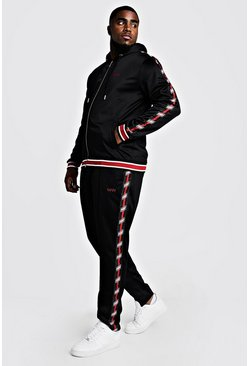 Mens Black Big & Tall Tricot Tracksuit With MAN Tape