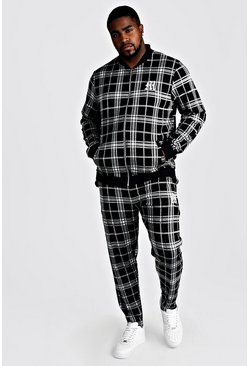 Mens Black Big & Tall Check Tracksuit With M Embroidery