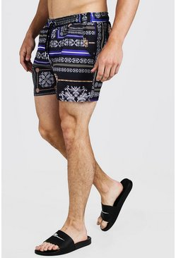 Mens Black Baroque Tile Print Swim Short