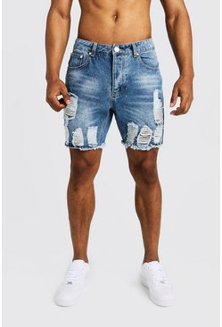 Slim-Fit Jeansshorts in starkem Destroyed-Look, Mittelblau, Herren