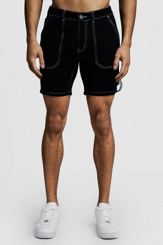 Mens Black Slim Fit Denim Cargo Shorts With MAN Tape