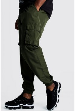 Mens Khaki Big & Tall Cargo Joggers With Buckle Waistband
